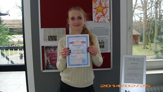 Gimnazistei Katrin Bergmann – Maskvos valstybinio M. V. Lomonosovo universiteto rusų kalbos sertifikatas