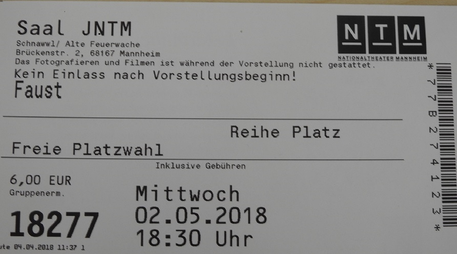 "Theaterbesuch ""Faust I"" im Schnawwl"