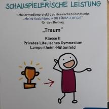 """1. Preis für """"Beste schauspielerische Leistung"""" beim Video-Wettbewerb """"Meine Ausbildung – Du führst Regie"""" des Hessischen Rundfunks (Foto: Dr. G. Hoffmann)"""