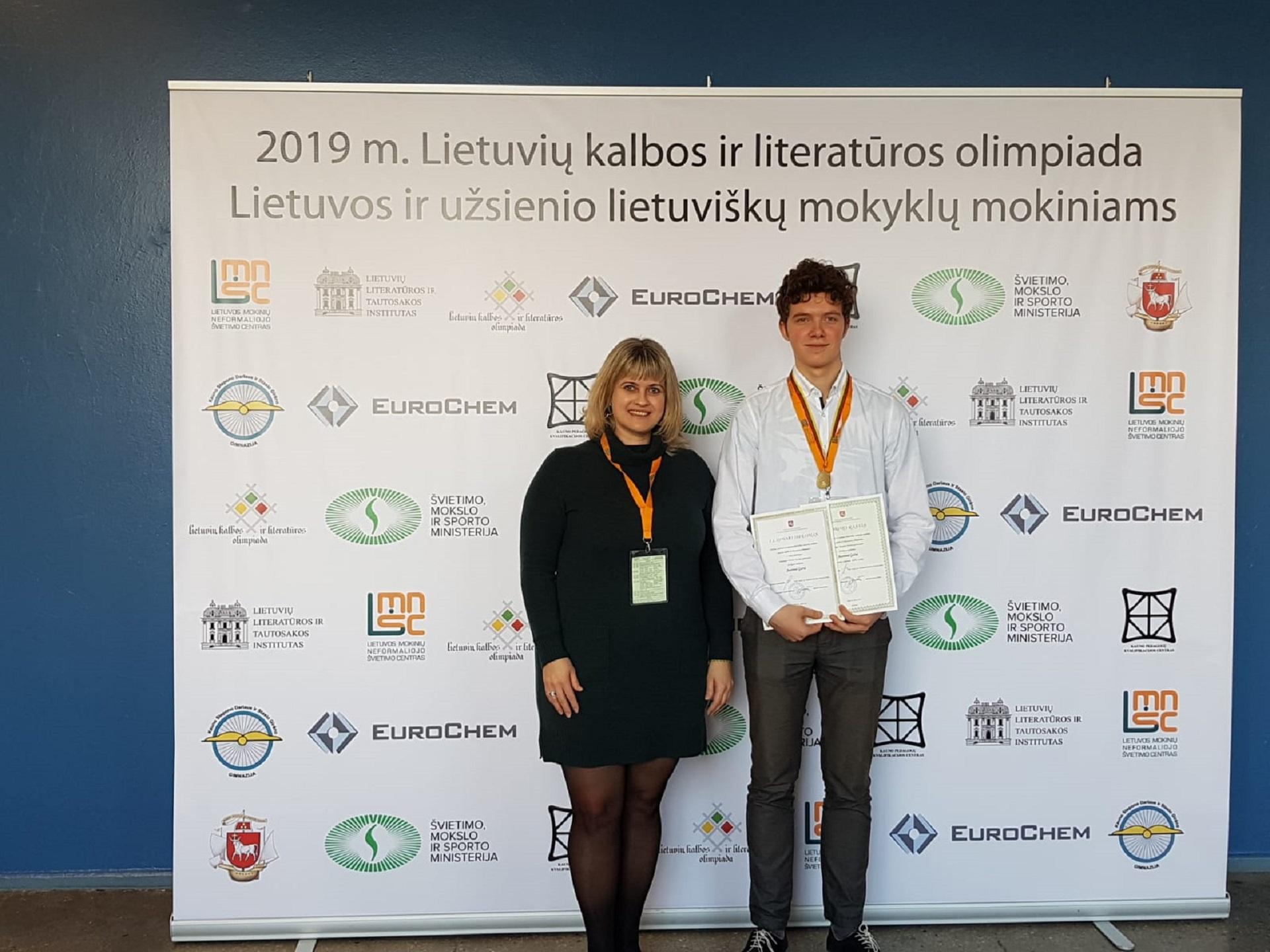 Mūsų gimnazistas – Lietuvių kalbos ir literatūros olimpiados nugalėtojas! (Foto: A. D'Elia)