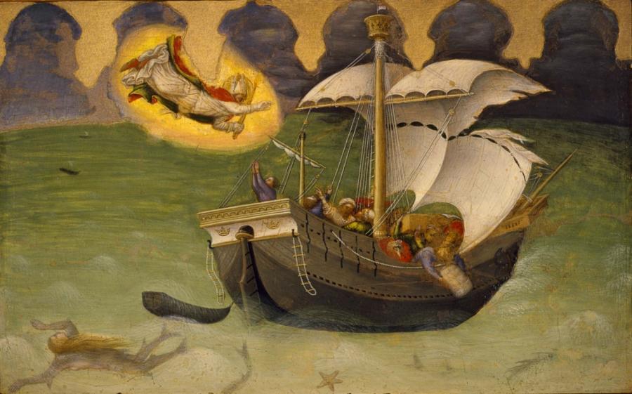 Šv. Mikalojus išgelbsti laivą nuo sudužimo. Gentile di Niccolò 1425 m.