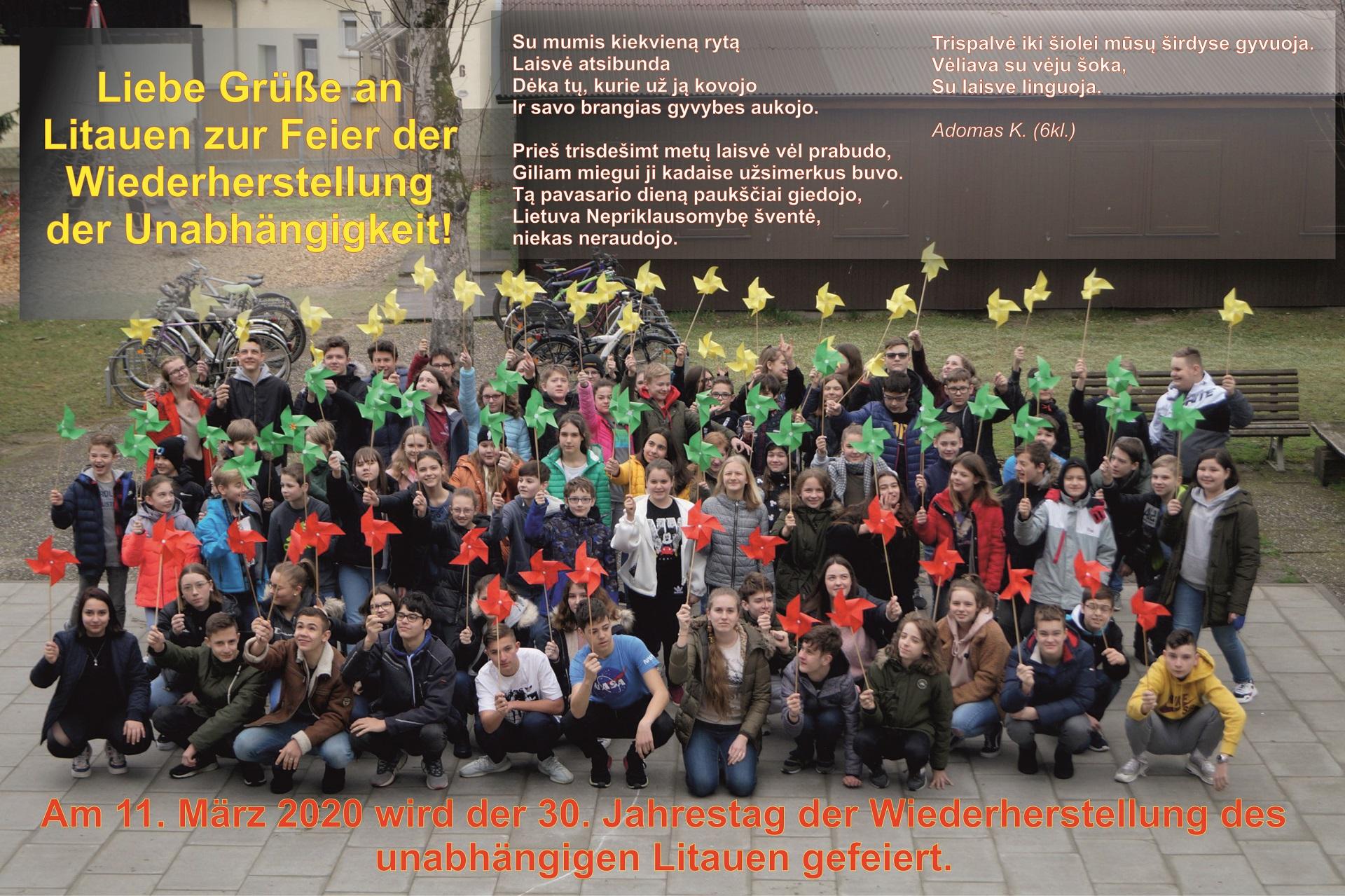 Liebe Grüße an Litauen zur Feier der Wiederherstellung der Unabhängigkeit