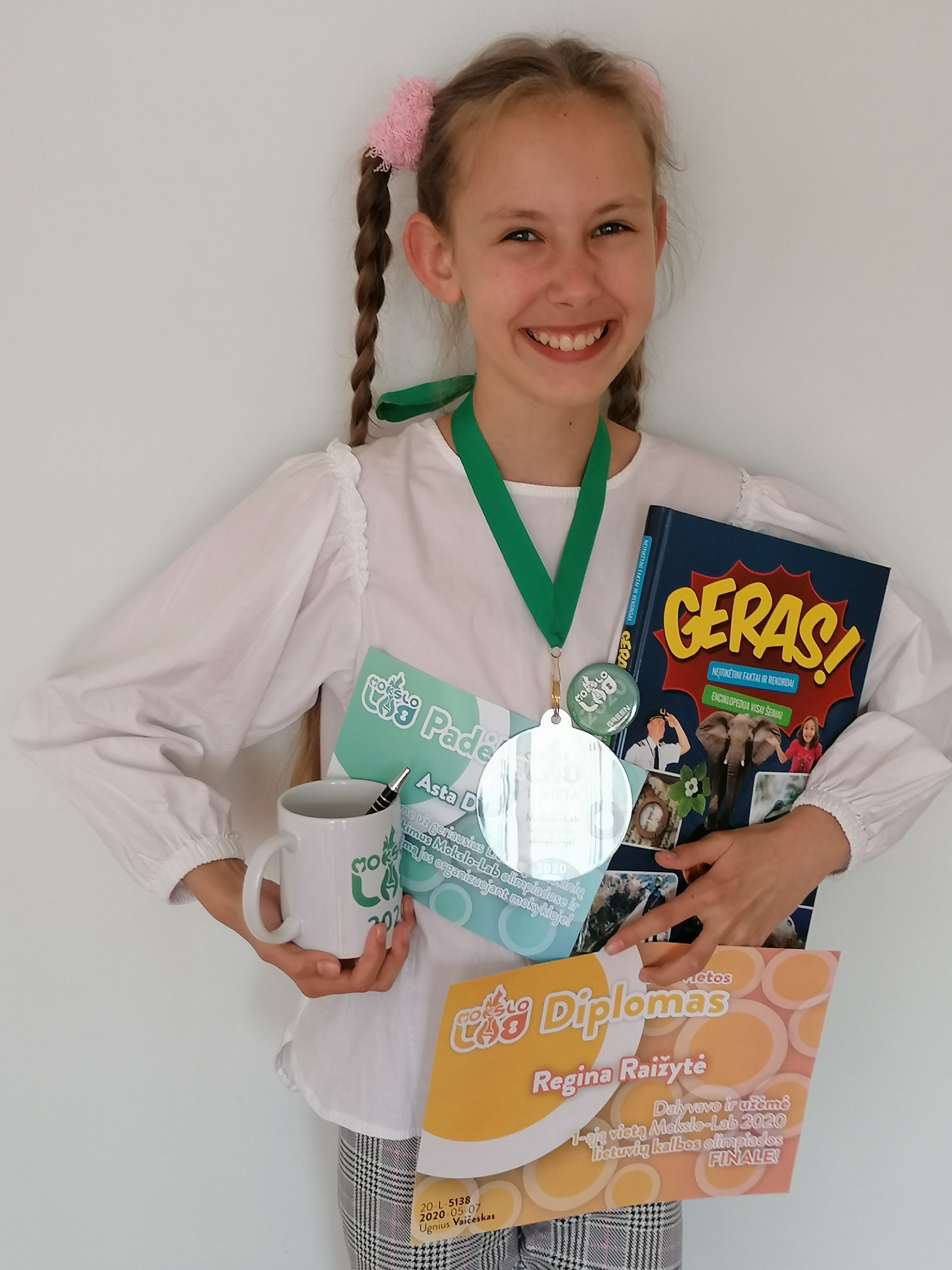 """Mūsų mokinė – penktokų olimpiados """"Mokslo-Lab 2020"""" nugalėtoja (Foto: R.Raižienė)"""