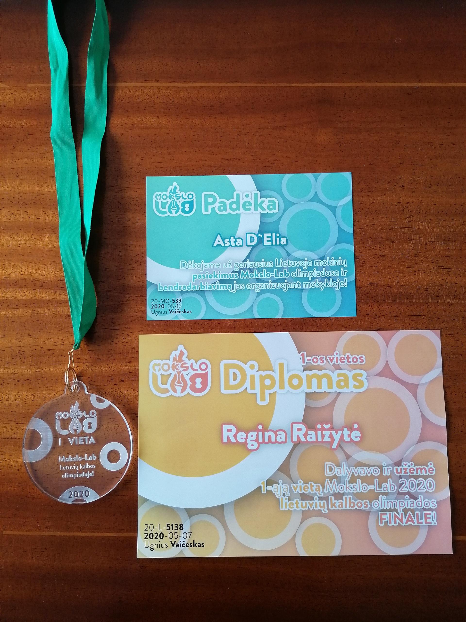 """Mūsų mokinė – penktokų olimpiados """"Mokslo-Lab 2020"""" nugalėtoja"""