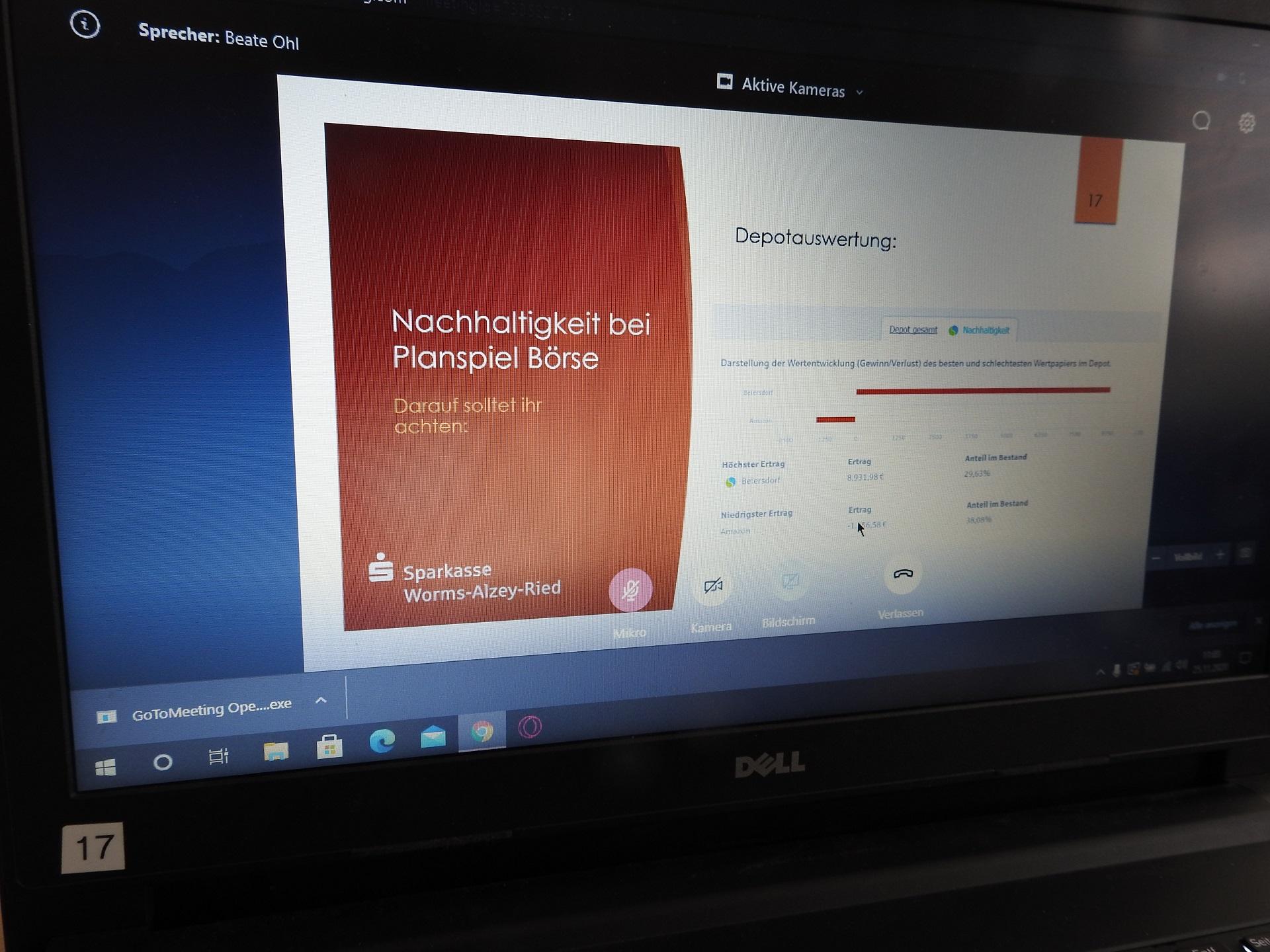 """Endspurt im """"Planspiel Börse"""" - Digitales Wertpapierforum für die Teilnehmer*innen (Foto: Dr. G. Hoffmann)"""
