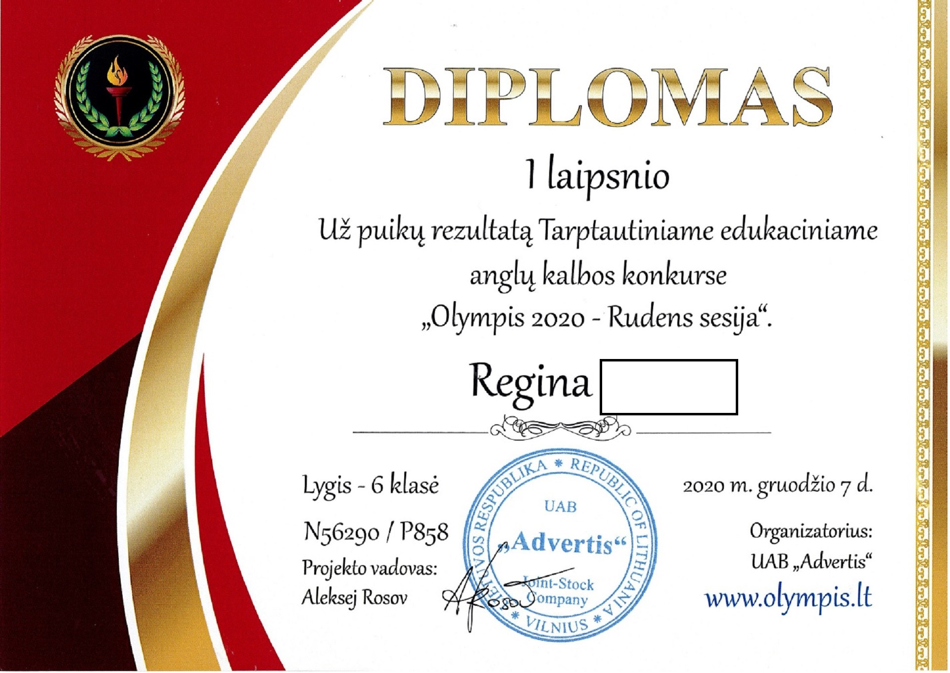 Puikūs rezultatai Tarptautiniame edukaciniame konkurse