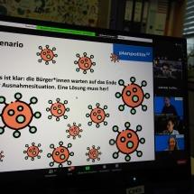 """""""Virenschutz auf Kosten der Freiheit?"""" - In einem Online Planspiel nach Lösungen suchen (Foto: Dr. G. Hoffmann)"""